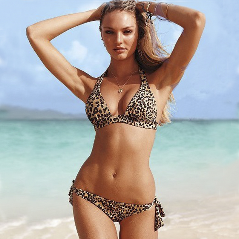 Leopard Print Female Bikini Gather Chest Sexy Push Up Cheetah Pattern Bikini Women Bathing Suits Swim Halter Set Swimwear 2017 -In Bikinis Set -6258