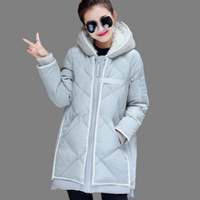 Женщины Пальто Куртки 2016 Новая Мода Прямо Сгустите Теплое С Капюшоном Ватные Куртка Женщин Длинный участок Зимой Parka Куртки AA43