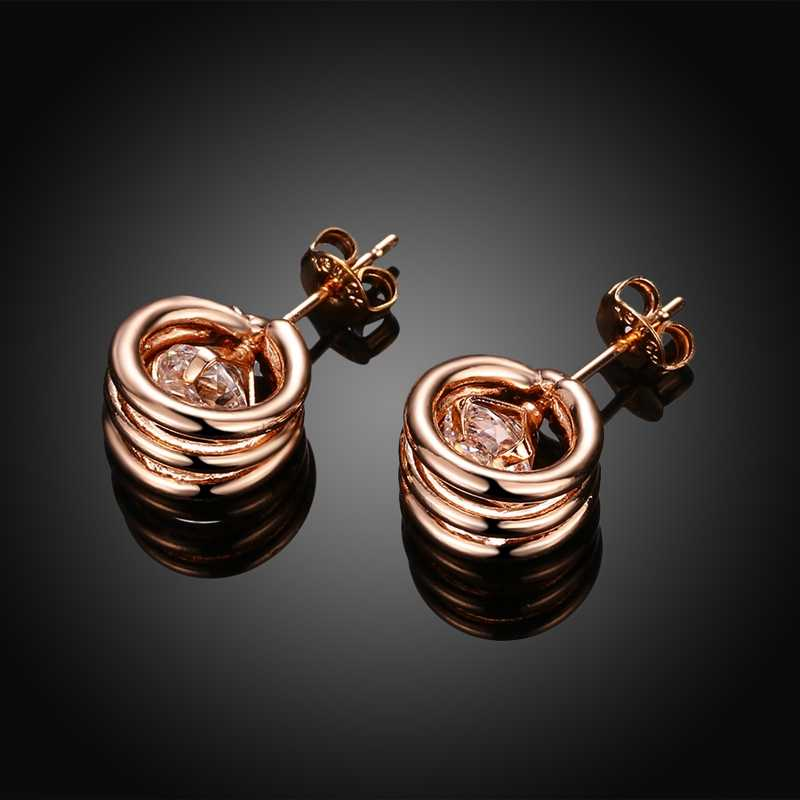 76b065541 ... ROXI Brand Zircon Circle Earring Rose Gold Color CZ Stud Earring for Women  Jewelry Charm Online ...