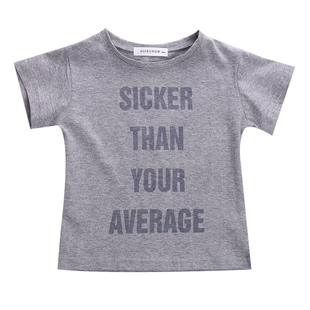 2016 wholesale cool summer toddler kids baby boys short sleeve tops letter printed t shirts 2-7 Years