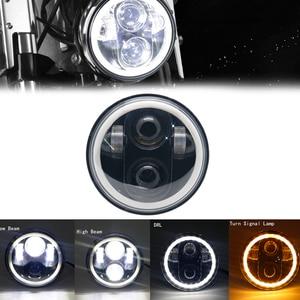 """Image 1 - 5.75 """"אופנוע LED פנס הנורה להארלי Dyna Sportster נצחון נצחון הודי מנוע פנס Halo DRL אמבר הפעל אור"""