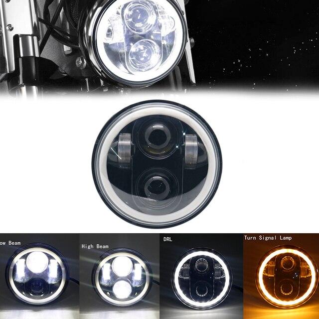 """5.75 """"אופנוע LED פנס הנורה להארלי Dyna Sportster נצחון נצחון הודי מנוע פנס Halo DRL אמבר הפעל אור"""