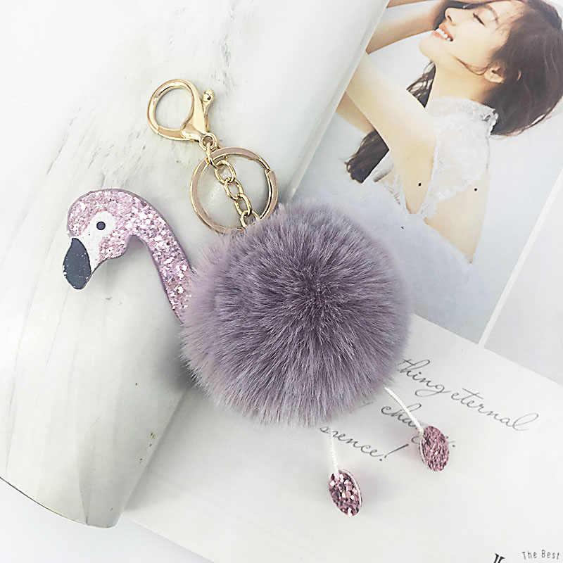 PU lantejoulas flamingo artificial fur bola chaveiro bolsa pingente de chave do carro pingente de roupas acessórios de moda presentes criativos