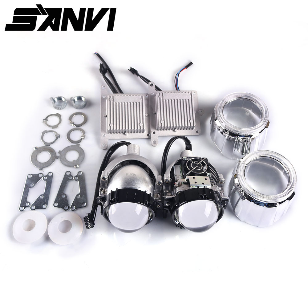 Sanvi 2,5 inci Auto Bi LED Projector LENS Headlight 35W 5000K LED auto Headlamp lampu sepeda motor