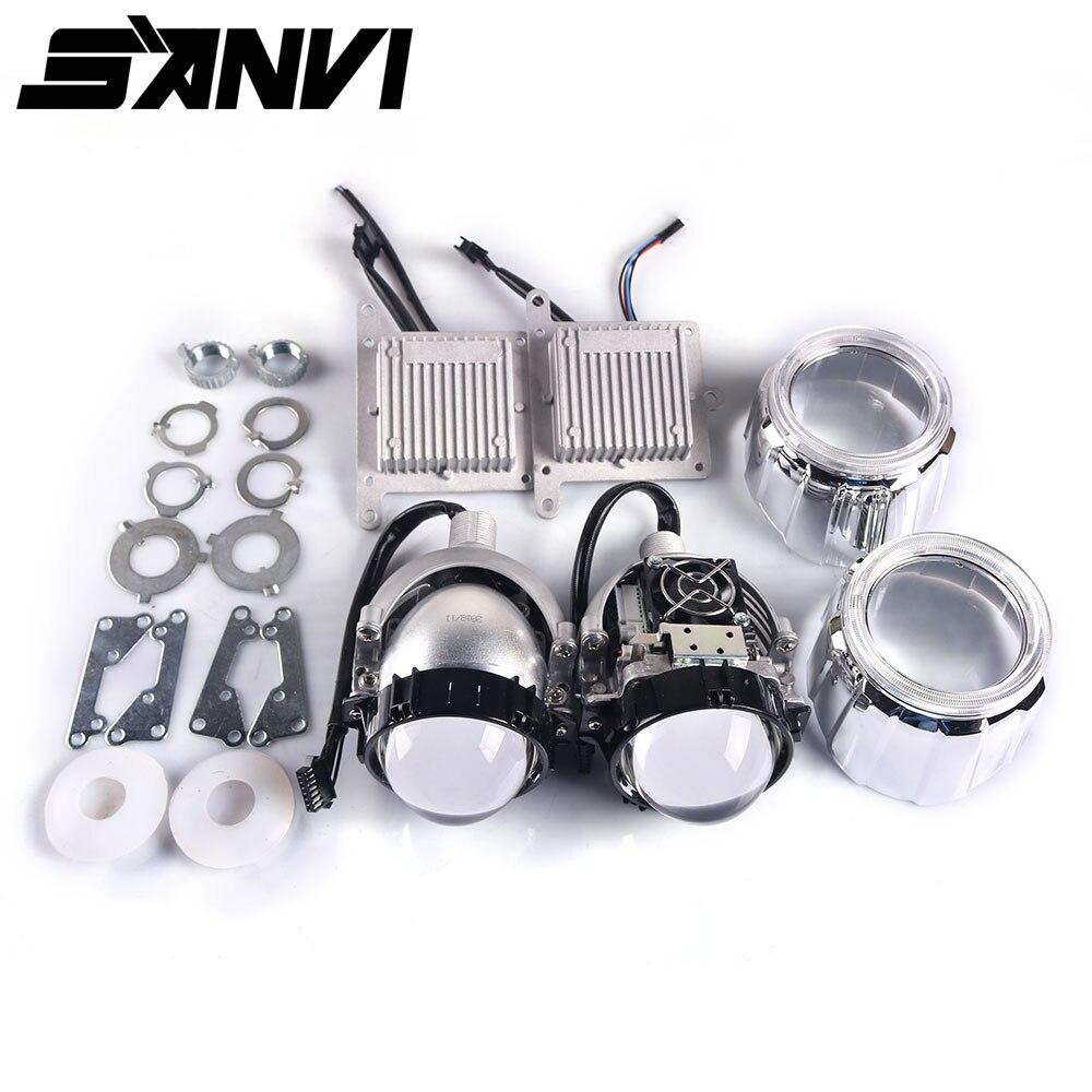 Sanvi 2.5 pouces Auto Bi LED OBJECTIF Du Projecteur Phare 35 w 5000 k LED auto Phare Moto phare