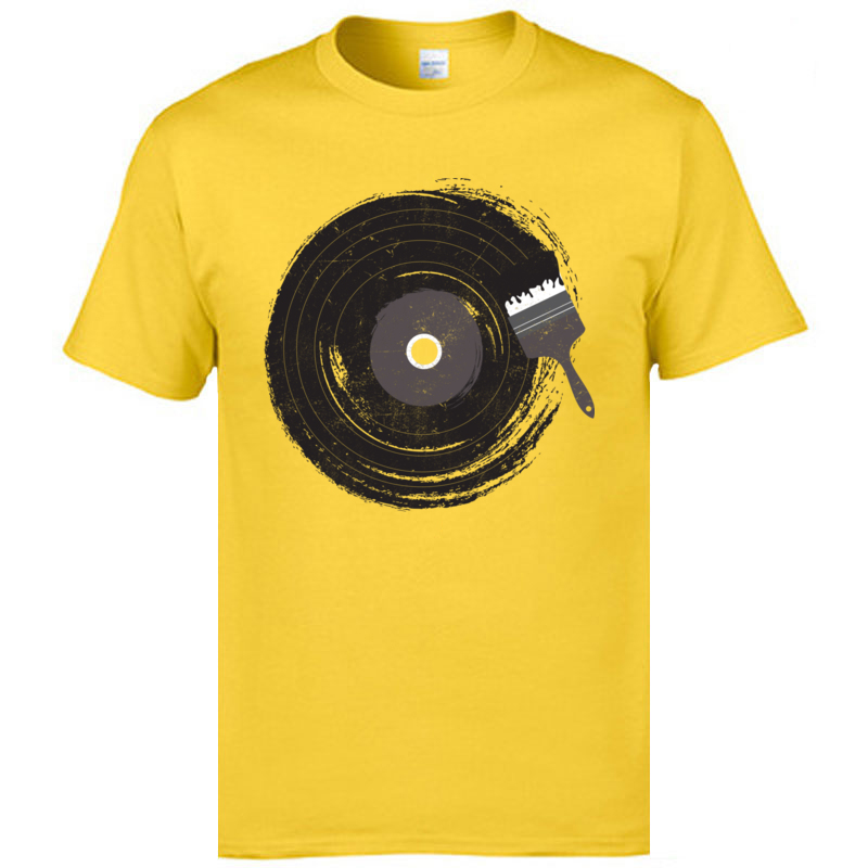 Art of Music Round Collar T Shirt Fall Tops Shirt Short Sleeve Latest Cotton Fabric comfortable Tee Shirts Funny Men's Art of Music yellow