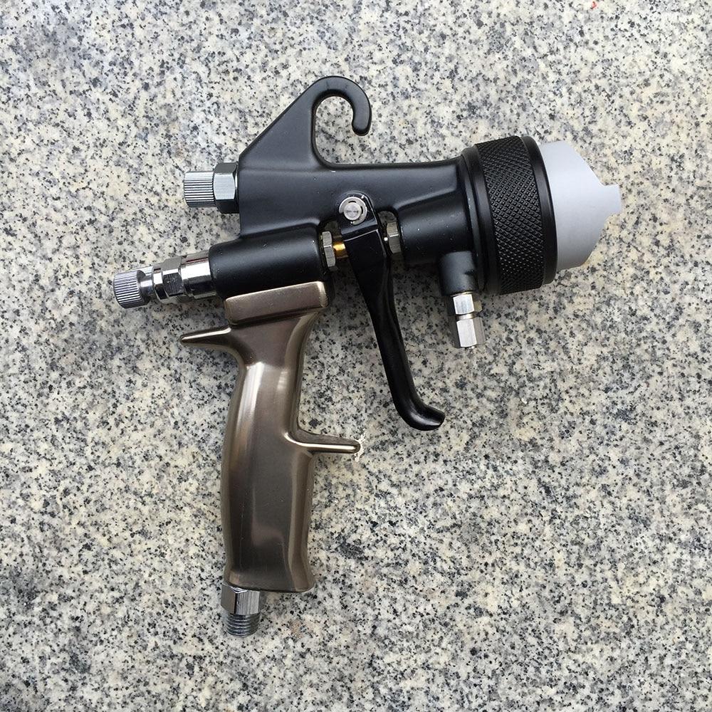 цена на SAT1205 high pressure automotive spray gun professional pneumatic spray gun double nozzle silver mirror chrome pressure feed gun