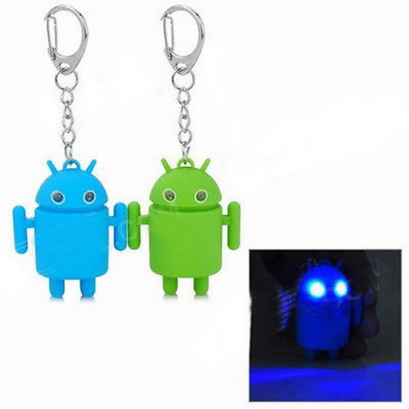 Banggood Cool Android Mini Robot Toy Key Chain Ring Keychain Fob With Blue LED Light-Up Eyes And Sound