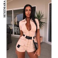 BOOFEENAA Zipper Pocket Bodycon Jumpsuit Fashion Safari Style Sexy One Piece Rompers Tight Fitted Jumpsuits for Women C54 AI09