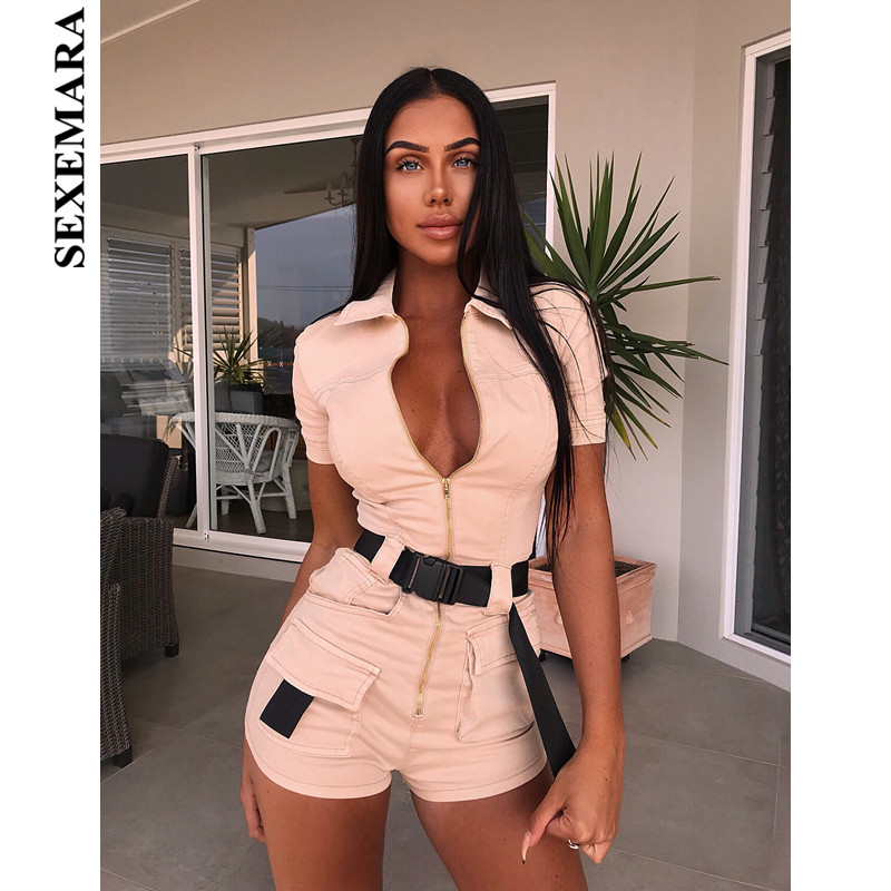 SEXEMARA Zipper Pocket Bodycon   Jumpsuit   Fashion Safari Style Sexy One Piece Rompers Tight Fitted   Jumpsuits   for Women C54-AI09