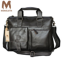 MONOLETH 100 Genuine Leather Messenger Bags Business Casual Tote Black Briefcase Shoulder Bag Travel Crossbody Bag