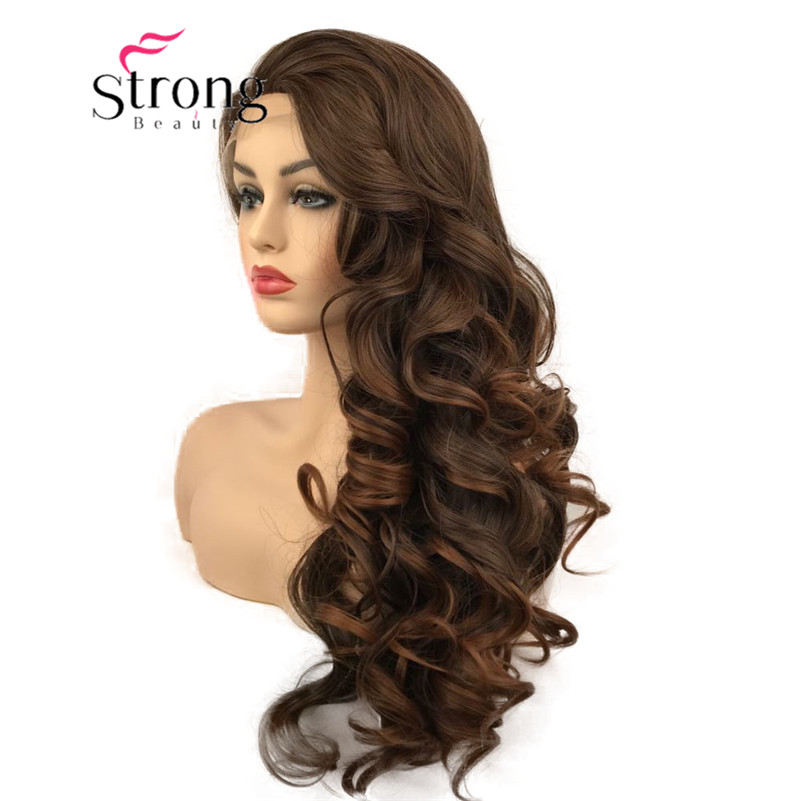StrongBeauty Lace Front Wigs For Women Brown Mix Glueless Long Wavy Synthetic Heat Resistant Hair Wig