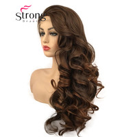 StrongBeauty Lace Front Wigs For Women Brown Mix Glueless Long Wavy Heat Resistant Hair Wig COLOUR CHOICES