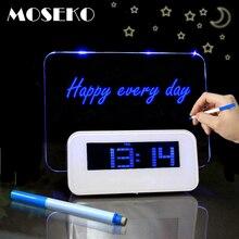 MOSEKO Fluorescente Tabellone messaggi Digitale LED di Allarme Calendario Orologio Luce di Notte Modem Allarme Retroilluminazione Orologio Da Tavolo Con Cavo USB