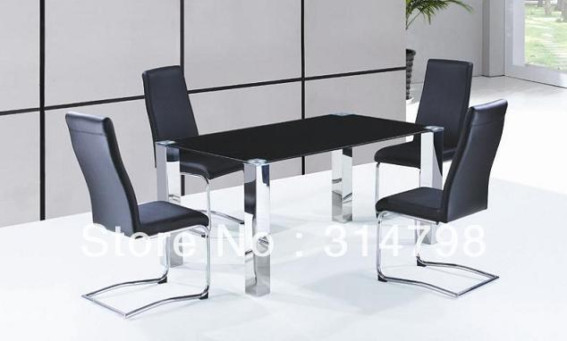 Glass Dining Table With Stainless Steel Legs, Leather Dining  Chairs,hot Sale Dining