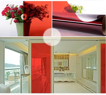 Red Color DIY Decoration Film Building Glass Window Sun Shade Vinyl Films Transparent  Window Stickers PET Home Decor 50cm x 15m