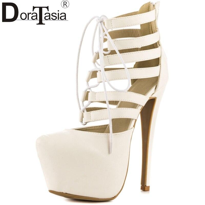 DoraTasia 2017 big size 34 47 thick platform round toe gladiator shoes women super thin high
