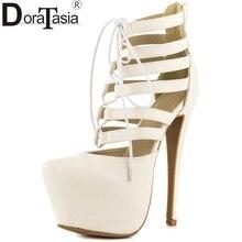DoraTasia 2017 grande taille 34-47 épais plate-forme ronde orteil gladiateur chaussures femmes super mince à talons hauts partie danse sandales femme