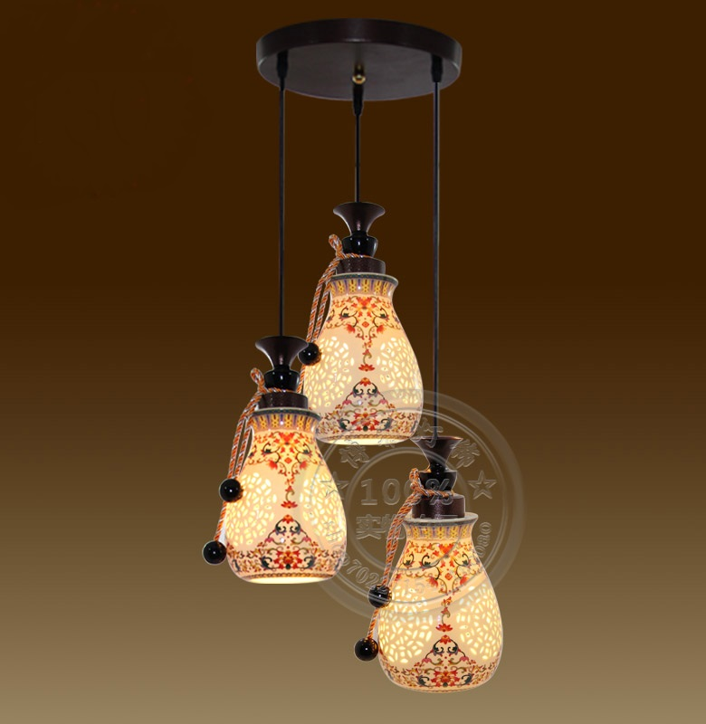 chinese style lamp Ceramic three head pendant light lamp antique lamps vintage pendant lamp ZS11