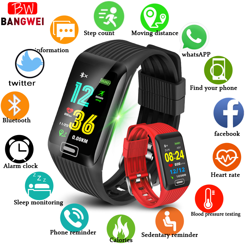 BANGWEI Fitness tracker IP67 Waterproof Wristband Blood Pressure Heart rate Monitor Pedometer Sport Smart Bracelet Android iosBANGWEI Fitness tracker IP67 Waterproof Wristband Blood Pressure Heart rate Monitor Pedometer Sport Smart Bracelet Android ios