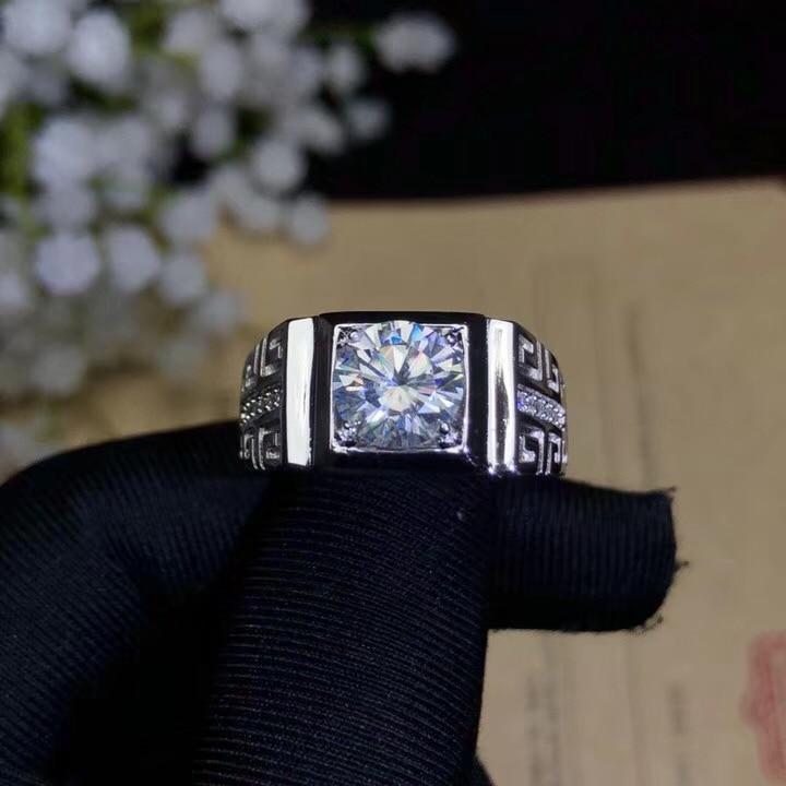Takı ve Aksesuarları'ten Halkalar'de Moissanite, 925 Gümüş moda tasarımı, güçlü yangın renk, elmas, yüksek sertlik 2CT. VVS, D'da  Grup 2