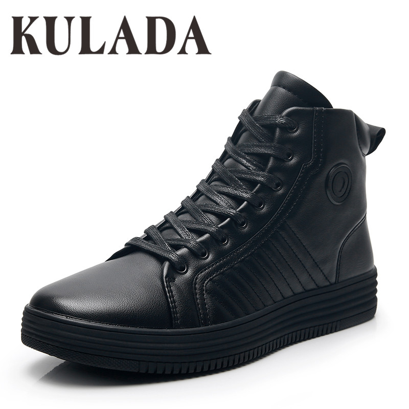 KULADA High Quality Boots Men Ankle Winter Shoes Handmade Outdoor Working Leather Boots Vintage Style Men Waterproof Warm Shoes