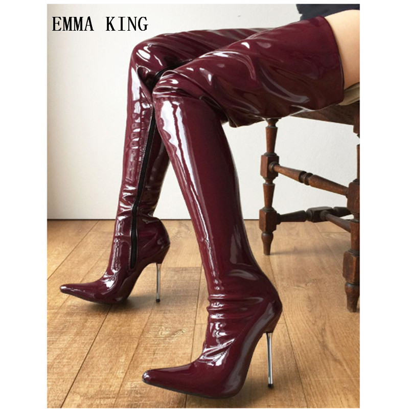 EMMA KING 2018 Sapatos De Mujer Wine Red Metal Heels Thigh High Boots Women Pu Leather Pointed Toe Night Club Party Long BootsEMMA KING 2018 Sapatos De Mujer Wine Red Metal Heels Thigh High Boots Women Pu Leather Pointed Toe Night Club Party Long Boots