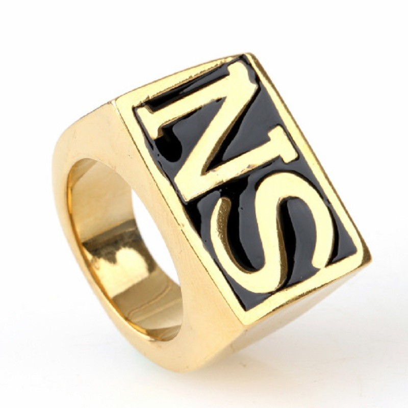 Rock Roll Golden Tone Carved Letter 316L Stainless Steel Boys Mens Ring