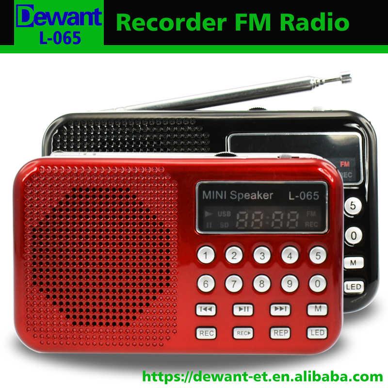 送料無料l-充電式ミニポータブルラジオスピーカーポータブルでfmラジオmp3プレーヤーled懐中電灯とボイスレコーダー