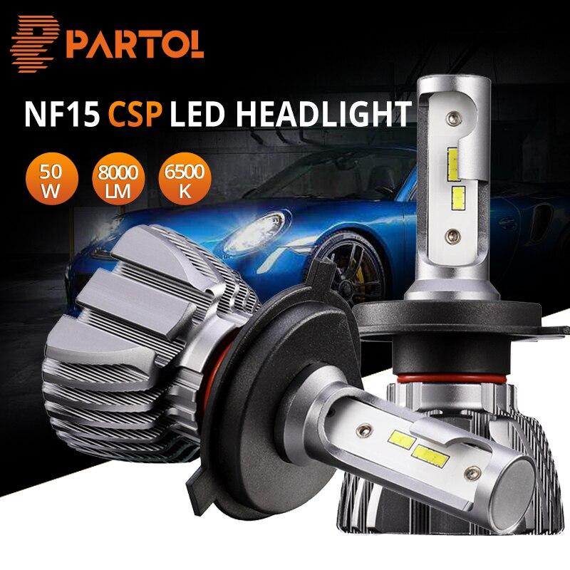 Partol H1 H3 H4 H7 H11 9005 9006 LED Scheinwerfer Birne Offroad Auto LED Kopf Lampe Auto Licht CSP Hallo -Lo Strahl 50 watt 8000LM 6500 karat 12 v 24 v