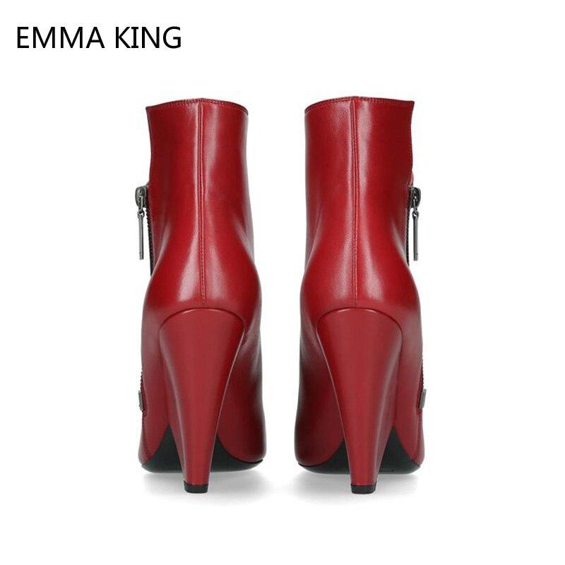 Модные красные женские ботильоны «Челси»; Теплые Ботинки Martin на высоком каблуке; женские туфли лодочки для вечеринки и свадьбы; классически... - 4