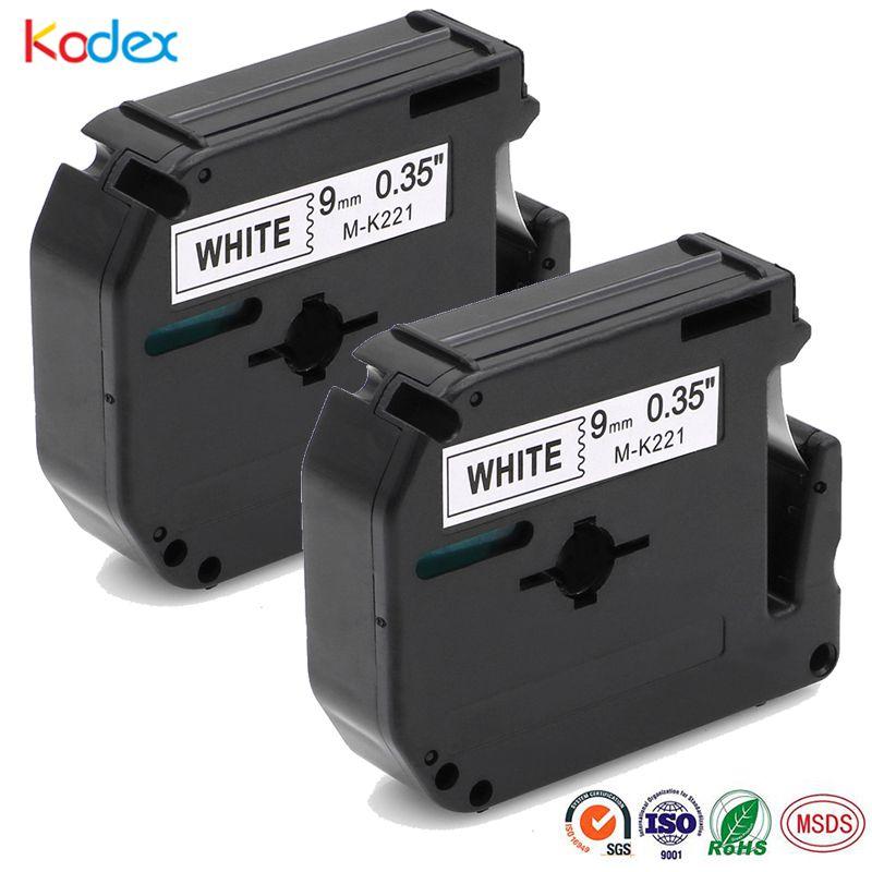 IsMyStore: Kodex 2pcs Black on White 9mm Compatible Brother P-touch M Tape MK221 M221 M-K221 for PT-65 PT-70 PT-80 PT-85 PT-90 Label Tape