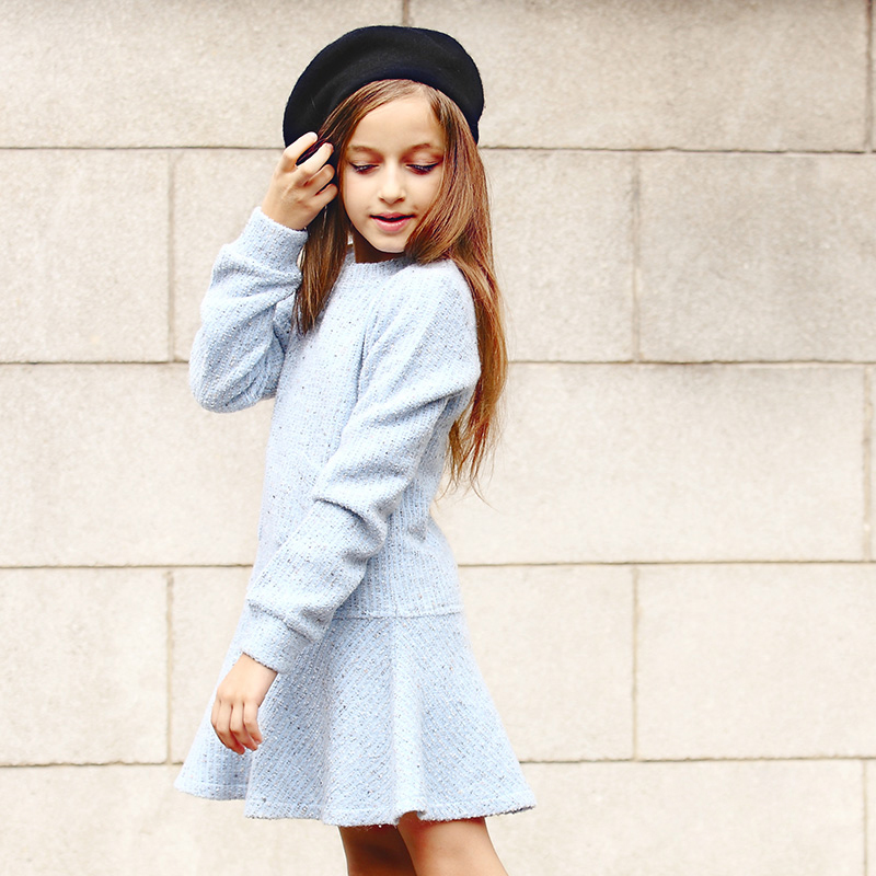 2017 Fashion Rushed Girl Dress Thick Kids Clothes For Winter/Spring Solid Thick Dresses Girl European Princess Style 3-18y Old
