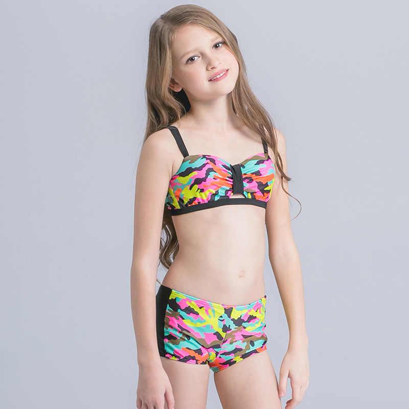 a9a16583607f21 ... 2019 New Girl Swim Wear Camouflage Print Kids Swimsuit Teenager Girl  Bikini Set Push Up Two ...