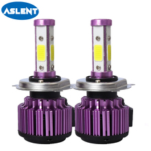 Aslent 4 Sides 100W 10000LM H8 H11 Fog lights Anti-emc h7 led H4 Lamp HB3 9005 HB4 9006 light bulbs for Car 6500K 12V 24V