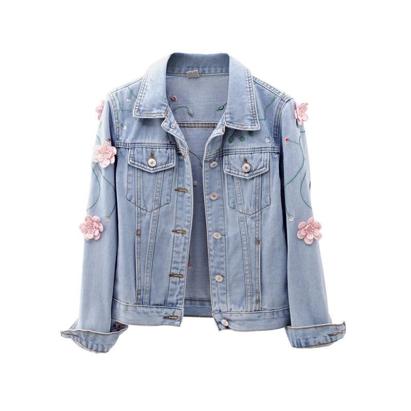 2018 Frauen Blume Mantel Denim Jacke Frauen Winter Denim Jacke Für Frauen Jeans Jacke Frauen Denim Mantel Lose Fit Casual Stil