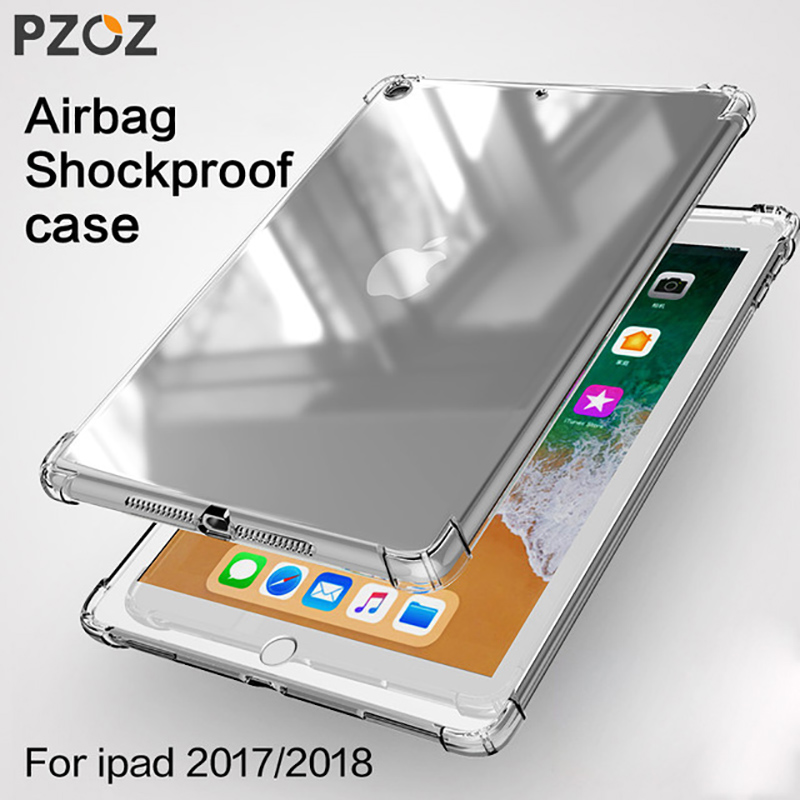 PZOZ For Apple New iPad 2018 2017 case 9.7 Shockproof Silicone Transparent Tpu Shell Tablet Back Cover ipad2018 ipad2017 9 7 protective silicone back case for iphone 5 transparent blue