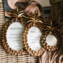 3/7 Inch Golden Pineapple Resin Photo Frame Creative Retro Home Bedroom Desktop Decoration Rectangle Picture Frames Ornaments