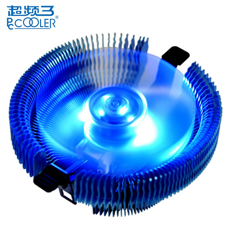 PCCOOLER E92F 90mm 4 Pin CPU Cooler Cooling Fan Blue LED Computer Case CPU Cooling Fans for Intel LGA775 115X for AMD AM2 AM2+ akasa 120mm ultra quiet 4pin pwm cooling fan cpu cooler 4 copper heatpipe radiator for intel lga775 115x 1366 for amd am2 am3