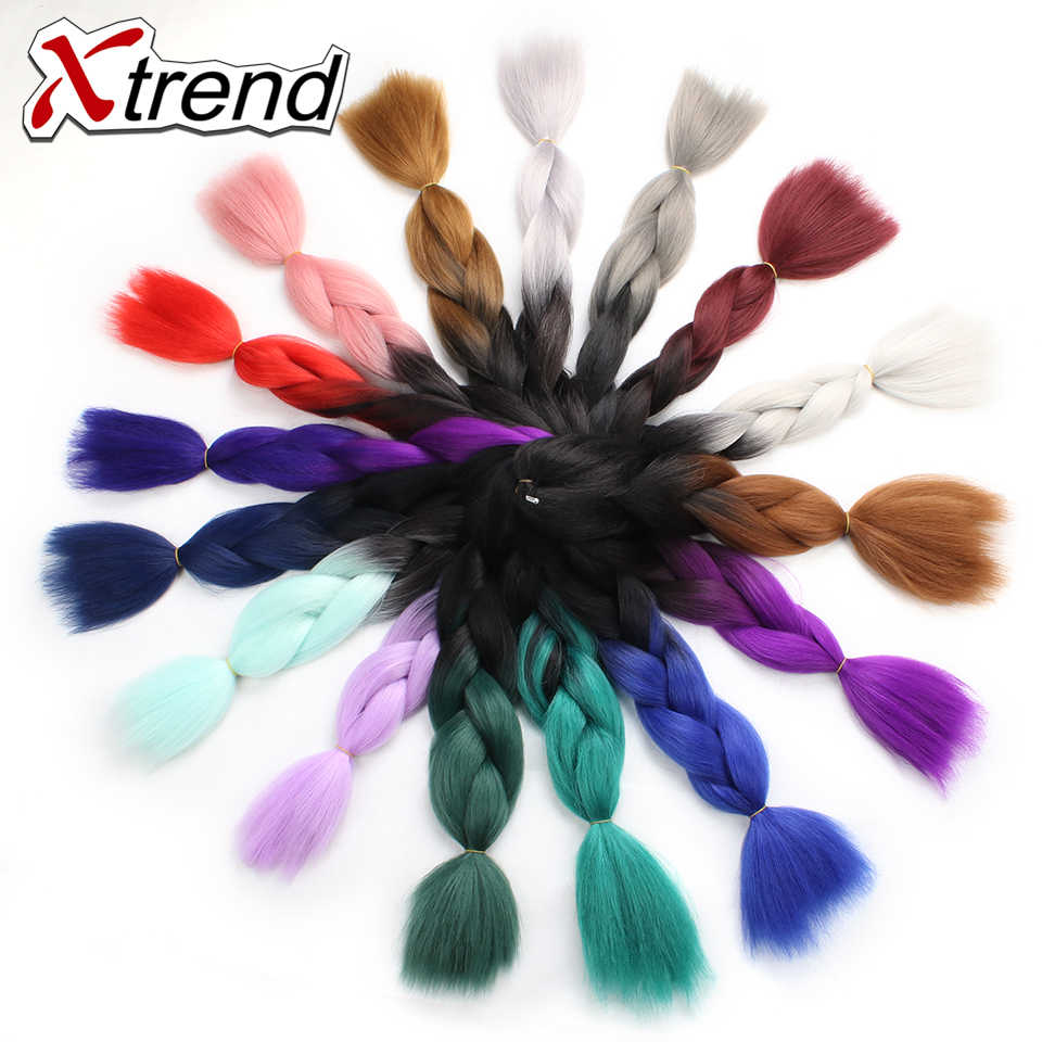 Xtrend 8PCS Synthetic Jumbo Braids Crochet Hair 24inch Ombre Braiding Hair Extension For Women Pink One Tone Two Tone Three Tone