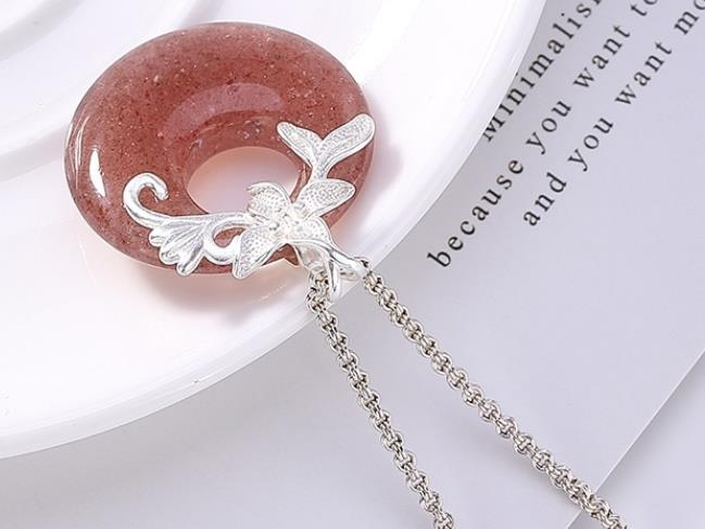 Sterling S925 925 silver Pendant Necklace Strawberry Quartz for girl sweater chain 28*35MM