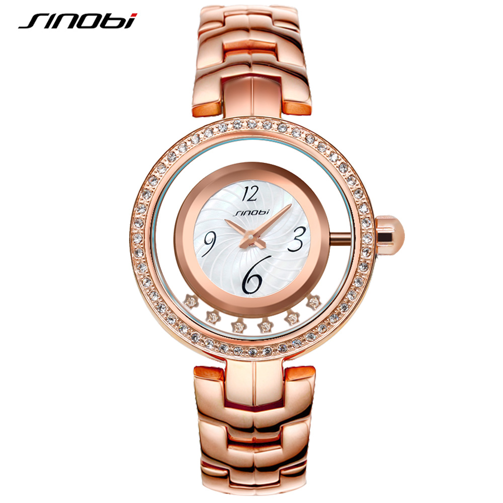 SINOBI Creative Women Watches Luxury Hollow Dial Quartz Watch Ladies Crystal Bracelet Watches 2018 Relogio Feminino #1180 bride chinese vintage headdress beaded tassel protein hairpins comb crystal hair jewelry vintage wedding hair accessories