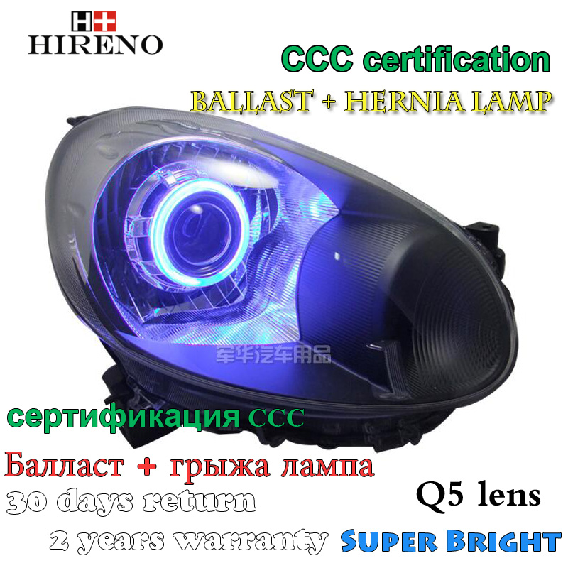 Hireno Modified Headlamp for Nissan March Headlight Assembly Car styling Angel Lens Beam HID Xenon 2 pcs