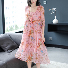 Pink Flowing Silk Dress for Women High Quality Summer Plus Size Large Midi Party Night Dresses Floral Print Robe Elegant Clothes недорого