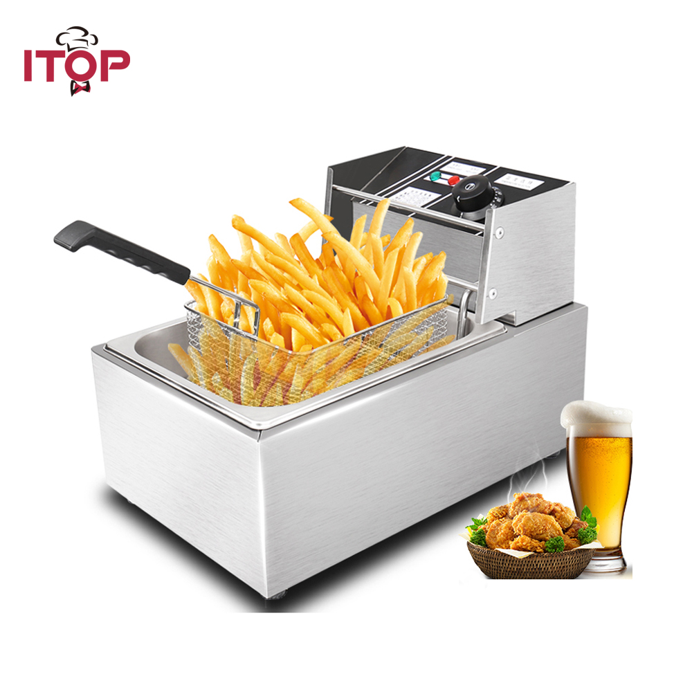 8L Electric Deep Fryer 110V/220V Stainless Steel Frying Machine Commercial Or Household Fryer CE certificate 10oz stainless steel 110v 220v electric commercial popcorn machine with temperature control