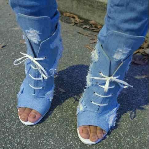 denim open toe ankle boots