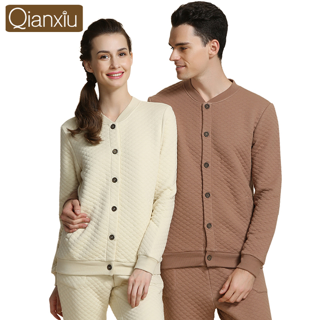 Brand Winter Couples Pajamas Set Cotton Warm Soft Men Women Sleepwear Home Lounge Tops & Bottoms Thermal Underwear for Women Men