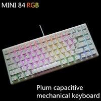 Plum 84 Электростатическая емкостная механическая клавиатура 35 г RGB с подсветкой компактная игровая клавиатура PBT keycap Съемная 84 мини plum