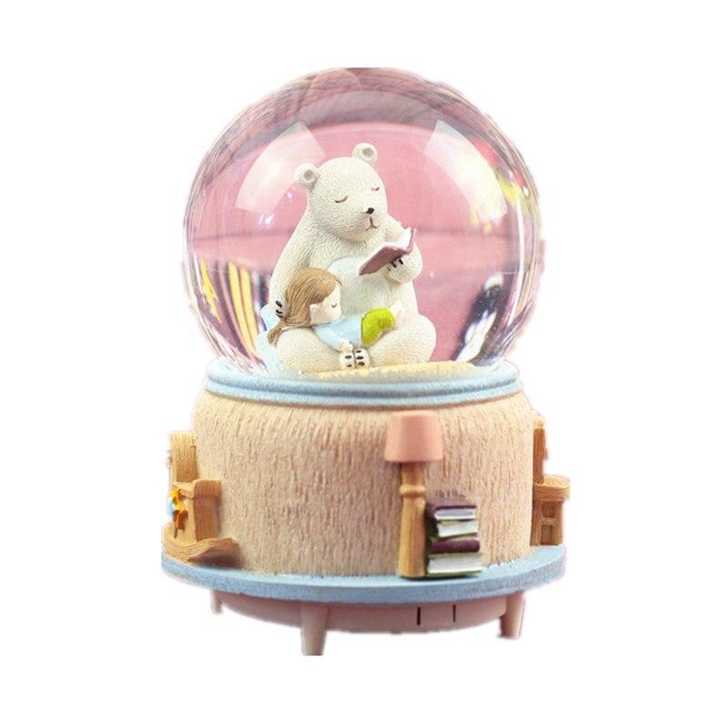 Creative résine ours boule de cristal boîte à musique artisanat flocon de neige rotatif Water Polo boîte à musique ornements décor à la maison cadeaux de noël