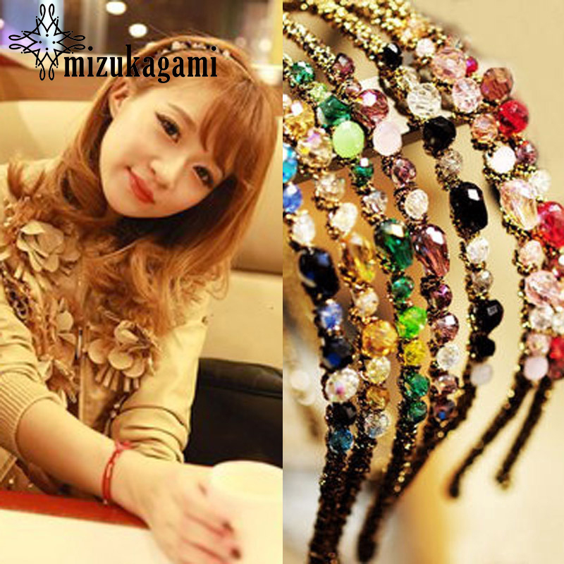 1Pcs Fashion Elastic Colourful Crystal Irregular Shape Hair Hoop Super Flicker Scrunchy Hair Accessories For Women ...